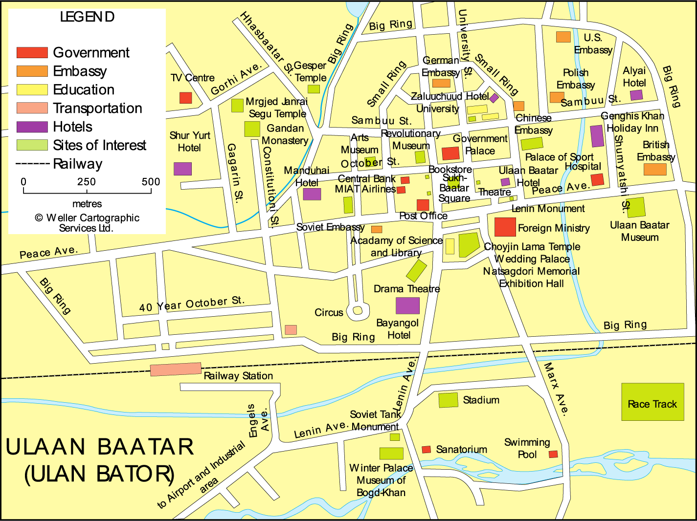 Central Ulan Bator map - Horseback Mongolia
